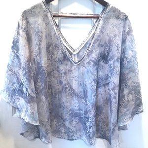 Jessica Simpson sheer flutter sleeve blouse